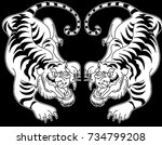 tiger illustration for sticker... | Shutterstock .eps vector #734799208