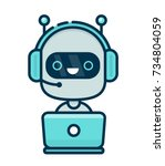 cute smiling chat bot working... | Shutterstock .eps vector #734804059