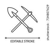 crossed shovel and pickaxe... | Shutterstock .eps vector #734807629