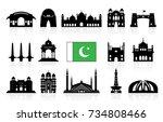 pakistan travel landmarks icon... | Shutterstock .eps vector #734808466