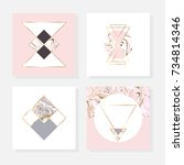 minimalist marble texture.... | Shutterstock .eps vector #734814346