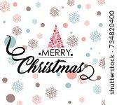 merry christmas vector text... | Shutterstock .eps vector #734820400