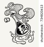 hand drawn magic bottle. vial...   Shutterstock .eps vector #734820613