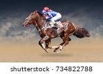 two racing horses neck to neck... | Shutterstock . vector #734822788