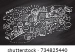 hand drawn business on... | Shutterstock .eps vector #734825440