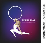 woman gymnast aerial ring.... | Shutterstock .eps vector #734826418