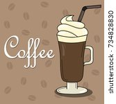 lovely card with coffee and... | Shutterstock .eps vector #734828830