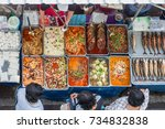 thai food on the street is... | Shutterstock . vector #734832838