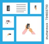 flat icon touchscreen set of... | Shutterstock .eps vector #734833750