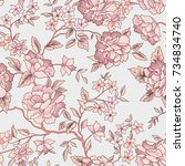 floral pattern. flower seamless ... | Shutterstock .eps vector #734834740