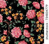 floral pattern in chinese... | Shutterstock .eps vector #734834779