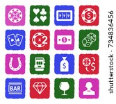 gambling icons. grunge color... | Shutterstock .eps vector #734836456