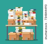 pile of paper documents and... | Shutterstock .eps vector #734844493