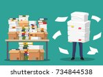 businessman holds pile of... | Shutterstock .eps vector #734844538