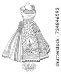 hand drawn dress. sketch for... | Shutterstock .eps vector #734846593