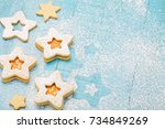 christmas cookies with apricot... | Shutterstock . vector #734849269