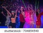 young people are celebrating... | Shutterstock . vector #734854540