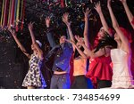 young people are celebrating... | Shutterstock . vector #734854699