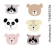 vector print with cute animals. ... | Shutterstock .eps vector #734855236