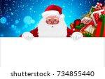 happy santa claus  cartoon...   Shutterstock .eps vector #734855440