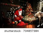 christmas night  santa claus... | Shutterstock . vector #734857384