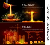 steel industry banner. hot... | Shutterstock .eps vector #734858293
