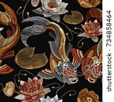 embroidery vintage koi fish and ... | Shutterstock .eps vector #734858464