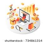 online shopping isometric... | Shutterstock .eps vector #734861314