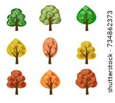 set of seasoned trees. flat... | Shutterstock .eps vector #734862373