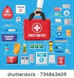 first aid kit with medical... | Shutterstock .eps vector #734863609