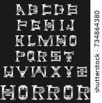 art silver alphabet   Shutterstock .eps vector #734864380