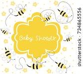 new baby arrival baby shower | Shutterstock .eps vector #734865556