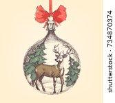 vintage christmas ball  deer... | Shutterstock .eps vector #734870374
