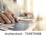 hands of businessman using...   Shutterstock . vector #734870488