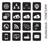 internet icons. grunge black... | Shutterstock .eps vector #734871499