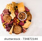 cheese and cured meat... | Shutterstock . vector #734872144