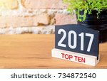 new year 2017 top ten topic... | Shutterstock . vector #734872540