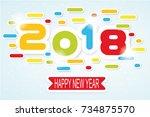 2018 happy new year written | Shutterstock .eps vector #734875570