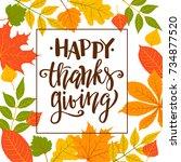 happy thanksgiving  autumn...   Shutterstock .eps vector #734877520