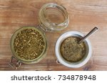 yerba mate and bombilla   south ... | Shutterstock . vector #734878948