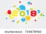 2018 happy new year  simple... | Shutterstock . vector #734878960