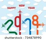 2018 happy new year plane | Shutterstock . vector #734878990