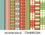 christmas seamless patterns set ... | Shutterstock .eps vector #734880184