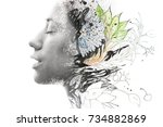 portrait photography blends in... | Shutterstock . vector #734882869
