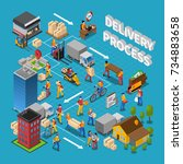 delivery process concept... | Shutterstock . vector #734883658