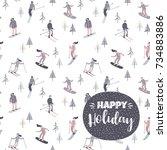 vector illustration of skiers... | Shutterstock .eps vector #734883886