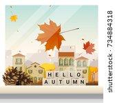 letters spelling hello autumn... | Shutterstock .eps vector #734884318