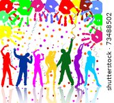 happy party people silhouettes  ... | Shutterstock .eps vector #73488502