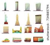 new york city buildings... | Shutterstock . vector #734885794