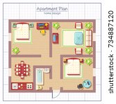 home design top view with... | Shutterstock . vector #734887120